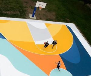Massive Ground Mural on Basketball Court
