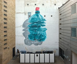 Giant Plastic Bottle Mural by Artists NEVERCREW