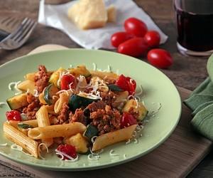 Pasta with Chorizo, Zucchini and Tomatos