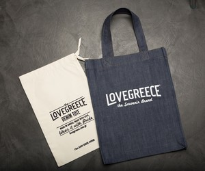 THE LOVEGREECE DENIM TOTE
