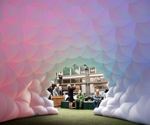 Fabric Prism Installation by Pneuhaus
