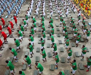 Peruvian Prison Aerobics with thousands of people!