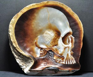 Skulls Carved & Painted on Mother of Pearl Shells