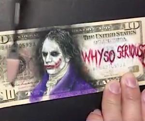 Heath Ledger's Joker on a 10$-Bill