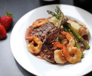 Lamb Surf and Turf in Red Wine Jus