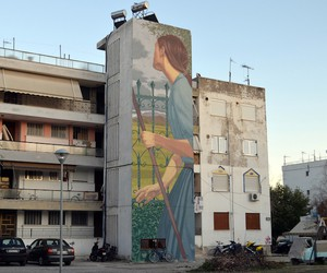 """October"" - Mural Alexis Taxis in Greece"