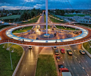 First Ever Suspended Bicycle Roundabout