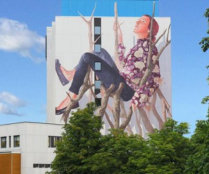 """The Long Wait"" - Mural by Fintan Magee in Sweden"