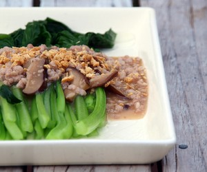 Choy Sum with Minced Pork and Shiitake Sauce