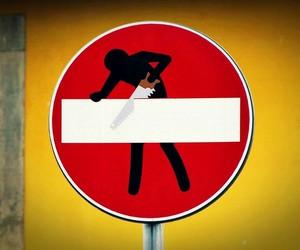 Signage Sticker Street Art by Clet Abraham