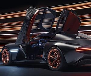 Retro futuristic supercar with electric motor