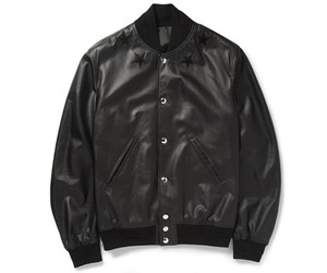 Givenchy all black leather baseball jacket