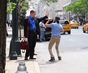 "Watch out for ""The High Five Man"" in New York City"
