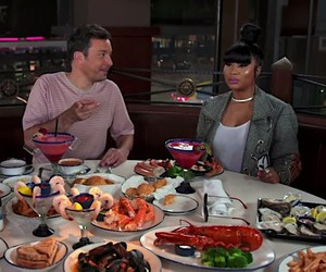 Jimmy Fallon and nicky Minaj at red lobster