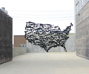 USA Map made of 130 suspended Toy Guns
