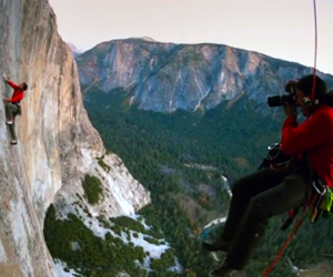 Jimmy Chin Shooting on the Cliffs of Yosemite