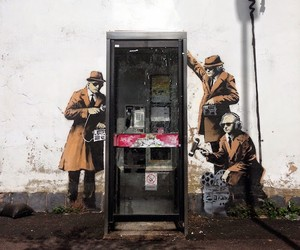Two new Pieces by Banksy: Mobile Lovers, Spy Booth