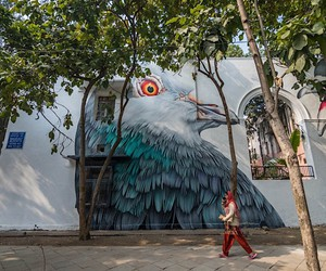 Two oversized pigeons are on a facade in Delhi
